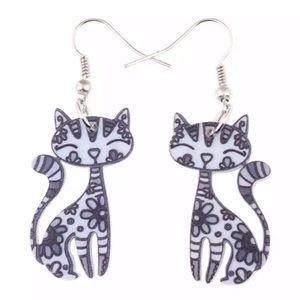 Gray Kitten Acrylic Ear Drop Earrings